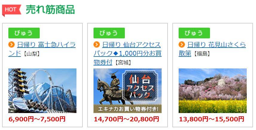 JR東日本国内ツアー商品 ポイント還元率
